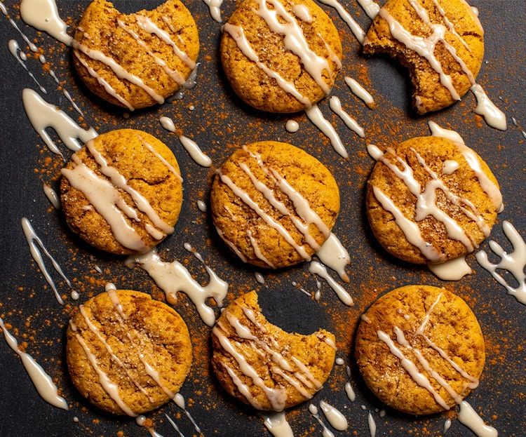 Cinnamon Glazed Vegan Pumpkin Sugar Cookies